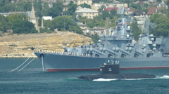 Russian military missile boat in the open sea Stock Footage