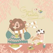 Girl drinking tea with a cute bear Stock Illustration