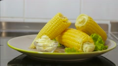 Corn boiling in pot Stock Footage