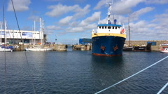 The Gry Maritha supply ship docking in Penzance  Stock Footage