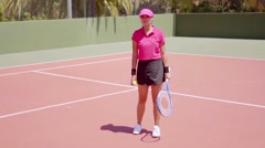 Tennis player having a dispute with the referee Stock Footage