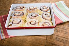 Pan of fresh cinnamon rolls Stock Photos