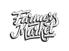 Farmers market hand lettering isolated on white Piirros