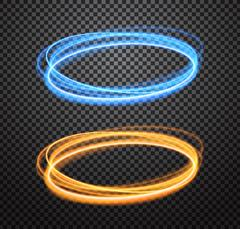 Round neon light trail vector special effects set Stock Illustration