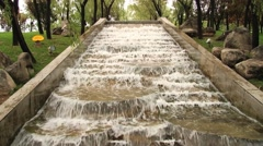 View to the waterfall in the Datang Furong Garden in Xian, China. Stock Footage