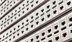 Network RJ-45 patch panel with switches in switching center. Close up view fr Stock Photos