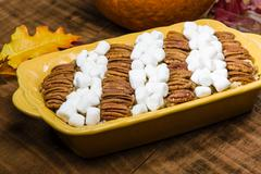 Sweet potato casserole dish with topping Stock Photos