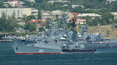 Russian warships in the military base Stock Footage