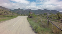 Autotravel Summer south of Crimea. Beautiful mountain landscape with vineyards Stock Footage