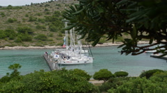 Yachts and boats in Marina of Sibenik in Croatia. Stock Footage