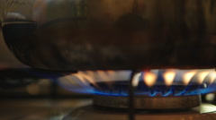 Kettle heated on the stove Stock Footage