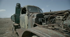 Rusty Russian truck in the middle of field Stock Footage