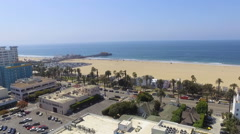 Flying Towards Santa Monica Pier, California Stock Footage