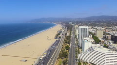 Fly Along Beautiful Santa Monica Downtown in Southern California Stock Footage