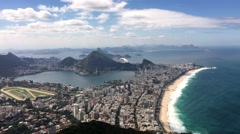 Beautiful view of Rio de Janeiro beach and city from top of mountain 4k Stock Footage