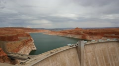 People taking a tour of the Glen Canyon Dam in Arizona Stock Footage