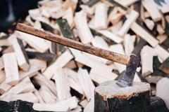 Axe stuck in a stump Stock Photos