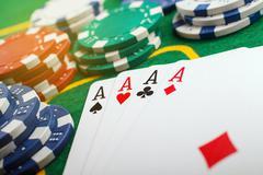 Poker four aces Stock Photos