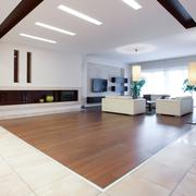 Photo of enormous house with spacious bright living room Stock Photos