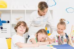 Little kindergarten artists at work Stock Photos