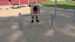 Young athlete do exercises for triceps Stock Footage