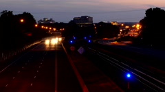 Beltway traffic train time-lapse night Stock Footage