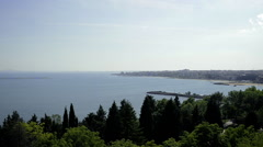 Black Sea Bay with Coastal Town Stock Footage