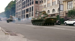 KYIV, UKRAINE - IVF BMD-2 driving near Poshtova ploshcha Stock Footage