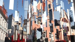 Urban installation with shiny mirrors Stock Footage