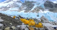 Everest Base Camp on the glacier Khumbu- Nepal Himalayas. Stock Footage