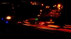 Beltway traffic streaks time-lapse night Stock Footage