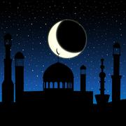 Vector mosque silhouette in night sky with crescent moon and stars Stock Illustration