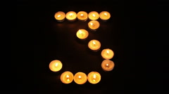 Tealight Candle Number Three Stock Footage