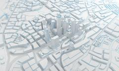 Low poly city views from above. 3d rendering Stock Illustration