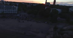 Cinema 4k aerial view of people celebrating hanko regatta in the city of Hank Stock Footage