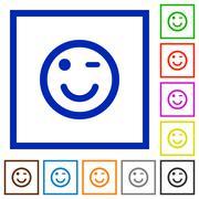 Winking emoticon framed flat icons Stock Illustration