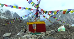 View of the Everest Base Camp on the glacier Khumbu, Nepal Himalayas. Stock Footage