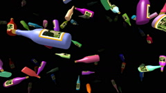 Flying bottles generated 3D video Stock Footage