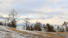 Movement of clouds above the forest on Olkhon Island, Lake Baikal,  Stock Footage