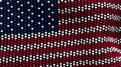 American flag is waving in the wind, consisting of hearts. Stock Footage