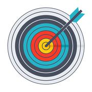 Arrow in archery target Stock Illustration