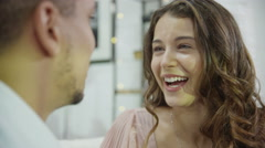 4K Happy couple laughing and rubbing noses together Stock Footage