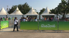 People getting into line at Rio 2016 sporting events 4k Stock Footage