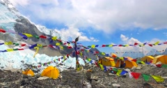 View of the Everest Base Camp on the glacier Khumbu- Nepal Himalayas. Stock Footage