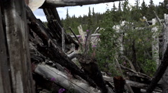 Silver City - Through the Window of Tumbledown Cabin to Wrecked Interior Stock Footage