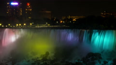 Niagara Falls Illuminated At Night/ 4K Timelapse Stock Footage