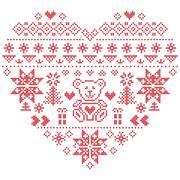 Nordic pattern in hearts shape with teddy bear Stock Illustration