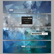 Set of banners. Abstract blue polygonal background, colorful backdrop, modern Stock Illustration
