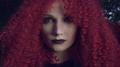 4k Halloween Shot of Red Riding Hood Posing, face close-up Stock Footage
