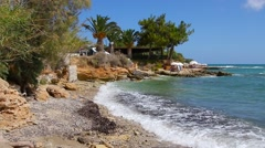 Greece. Hersonissos. Crete Island. Mediterranean Sea and the beautiful beach Stock Footage